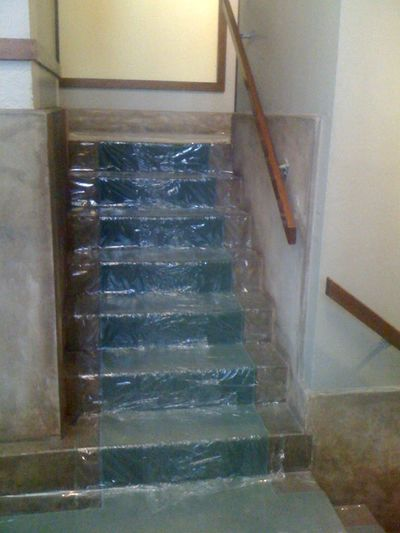 Sticky Plastic on the stairs