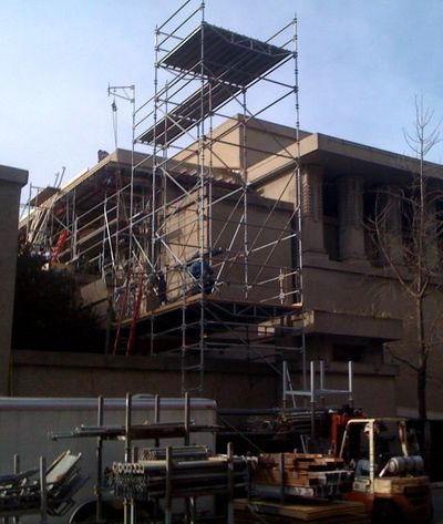 Scaffolding and shoring support Unity Temple's south roof slab.